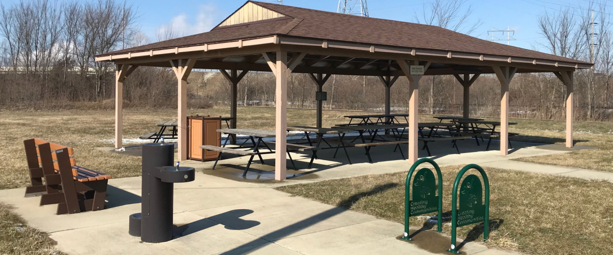 Mosser Park Shelter with bench, bike rack and water fountain