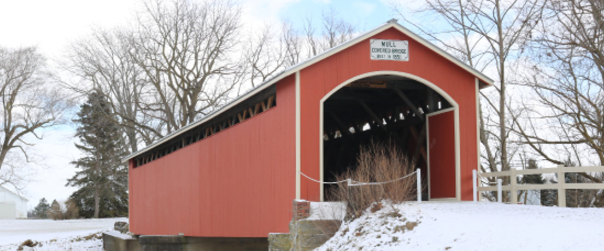 Red Covered Bridge with snow